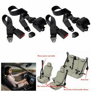 2 Set Car Universal Adjustable 3 Point Retractable Safety Seat Belt Lap Belt Kit