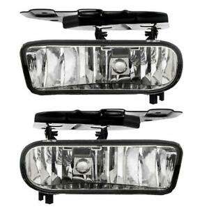 For 02 06 Cadillac Escalade Clear Bumper Fog Lights Driving Lamps W Bulbs Pair