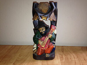 Vintage Hand Carved Wood Statue Of Man Playing Guitar