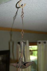 Early Antique Primitive Iron Betty Grease Fat Whale Oil Hanging Lamp Lighting