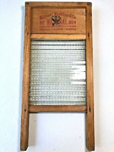 Vintage National Washboard Co Wood Glass Washboard 864 Domestic Science Nra
