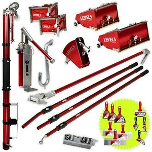 Drywall Taping Tools Set W Mega 10 12 Flat Boxes And Auto Taper Level 5 Tools