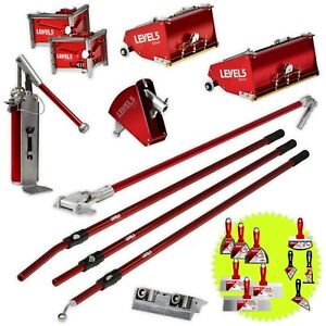 Drywall Taping Finishing Tools Set W Mega 10 12 Flat Boxes Level 5 Tools