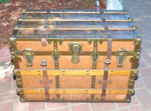 Antique Flat Top Steamer Trunk Chest Leather Straps