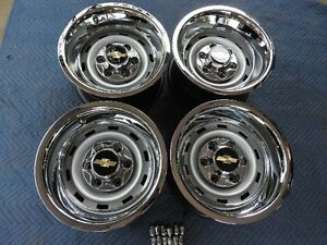 1967 72 87chevy Truck 2wd 6 Lug 15x8 Gm Original Truck Rally Nice Caps New Rings