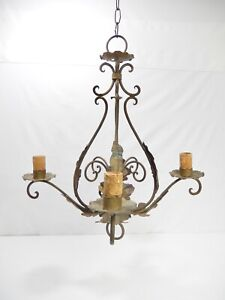 Antique Vintage 4 Arm Italian Iron Chandelier With Acanthus Leaves