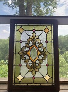 Antique Victorian 1800 S Stained Beveled Glass Window With Jewels 34 75x24 25