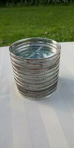 Vintage Set Of 10 Sterling Silver Glass Coasters