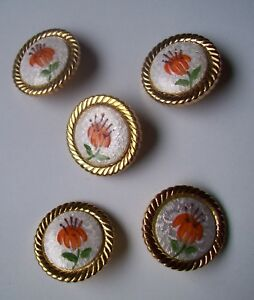 Vtg Guilloche Enamel Buttons Gold Plate Setting Set Of 5 Orange Lily Flower