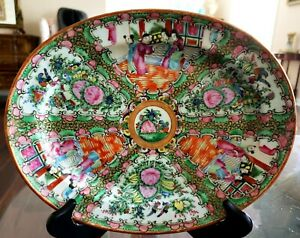 Antique Chinese Rose Medallion 12 Platter With Birds Figures