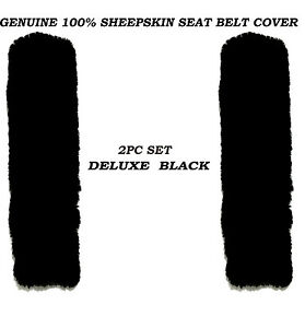2pc Merino Black Color 100 Genuine Sheepskin Seat Belt Cover Comforter