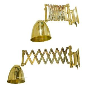 Nautical Marine Brass Scissor Type Adjustable Wall Lamp With Shade
