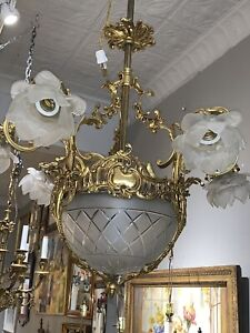 French Bronze Crystal 6 Arm Etched Basket Dining Room Entry Hall Chandelier