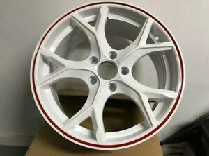 17 Type R Style White With Red Lip Alloy Rims Wheels Fits Honda Civic Si Ex Exl
