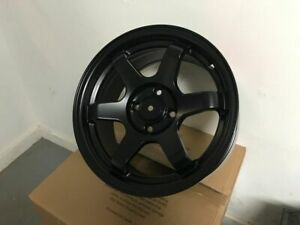 Four 15 Te Grid Style Satin Black Rims Wheels Fits Honda Civic Integra Civic