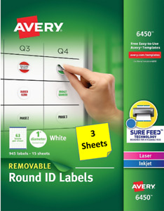 3 Sheets Avery 6450 Removable Round Id Labels 1 Diameter Laser inkjet