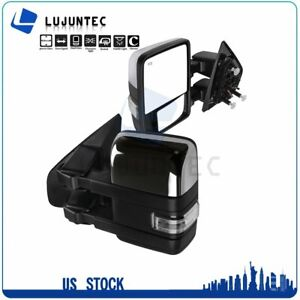 For 04 14 Ford F150 Power Heated Auxiliary Clearance Signal Chrome Tow Mirrors