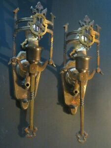 Spanish Revival Wall Sconce Lights Pair Cast Brass Bronze Original 1930 S