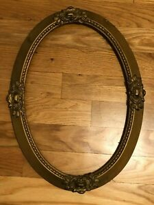 Antique Victorian Carved Wood Gold Gilt Ornate Oval Picture Frame 23 X 17