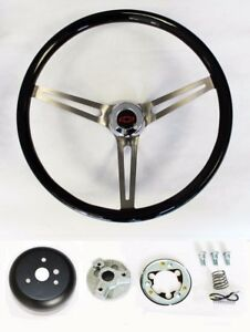 1967 1968 Chevelle El Camino High Gloss Black Wood Steering Wheel 15 Rb Bowtie