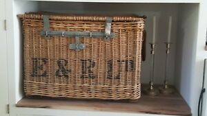 Antique French Wicker Shipping Travel Trunk Large Rare Collection Piece
