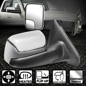 For 02 09 Dodge Ram Truck Pair Chrome Cover Powered heated Flip Up Towing Mirror
