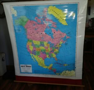 Vintage School Pull Down Wall Map North America Classroom Antique Map Us States