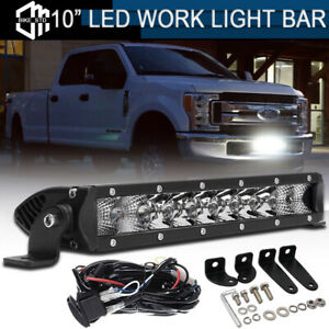 11 Led Single Row Light Bar Bumper Driving Fog Lamp For 17 up Ford F250 F350