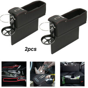 2x Car Seat Gap Filler Storage Organizer Armrest Cup Holder Pu Leather Universal