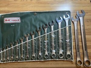 Vintage Sk Tools 13pc Sae Combination Wrench Set With Roll 1713 2 Made In Usa