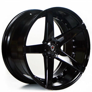 20 Staggered Marquee Wheels 3226 Black Rims Fit Ford Mustang Gt