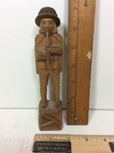Vtg Wooden Figure Hand Carved Man W Hat Playing A Clarinet Recorder Instrument