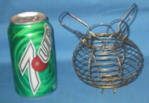 Vtg Antique Small Mini Child Size Copper Metal Wire Primitive Egg Basket