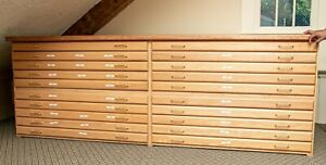 Oak Flat File Blueprint Map Plan Cabinet Custom 20 Drawer Rare Large 48 x 36