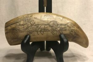 Scrimshaw Whale Tooth Stagecoach Turnage Place Mississippi 7 Fakeshaw Replica