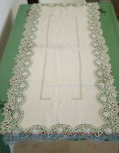 Antique European White Linen Table Runner Monogram Embroidery Lace 47 X 18