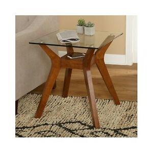 Modern End Table Walnut Finish Glass Top Mid Century Retro Accent Side Furniture
