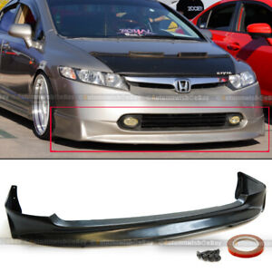 Fit 06 08 Civic 4 Dr Sedan Mugen Style Pu Front Bumper Lip Spoiler Body Kit