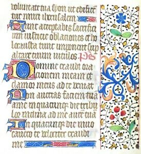 Medieval Illuminated Book Of Hours Manuscript Lf Penitential Psalm 101 2 C 1450