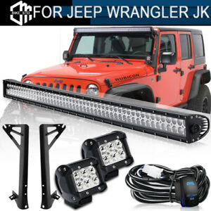 Roof 52 700w Led Light Bar 2x 4 Fog Lamp Bracket For 07 17 Jeep Wrangler Jk