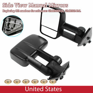 Replacement Manual Tow Side Mirrors Black For Chevy Silverado 1999 2006 1 Pair