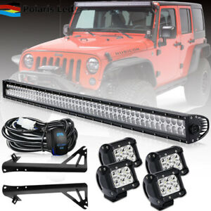 Roof 52 300w Led Work Light Bar 4 18w Fog Lights bracket For Jeep Wrangler Jk