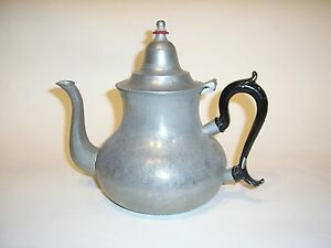 American Pewter Pear Shaped Teapot With Coral Ringed Finial Black Painted Handl