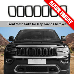 Black Front Grille Grill Inserts Ring Cover Trim Fit Jeep Grand Cherokee 2017