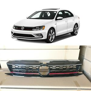 Honeycomb Mesh Red Trim Grill Grille For 2015 2016 2017 Vw Jetta Gli Style