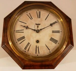 Antique Working Waterbury Clock Co 8 Day Marine Lever Gallery Ships Wall Clock