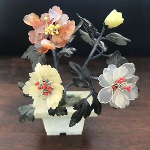 Antique Vintage Chinese Nephrite Jade And Carnelian Agate Botanical Tree Statue