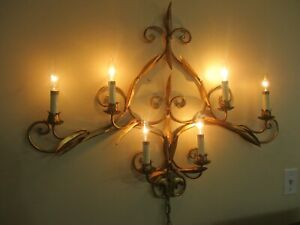 Vintage Italian Hollywood Regency Metal 6 Arm Candelabra Wall Light Sculpture