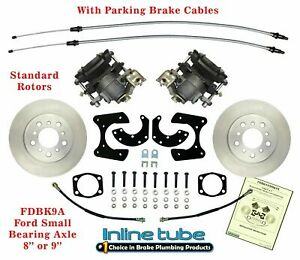 Ford 9 8 Rear Axle End Disc Brake Conversion Kit Small Bearing With Parking