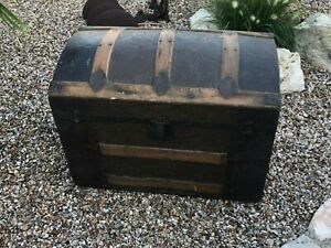 Antique Victorian Ladies Stagecoach Steamer Trunk Wood Arched Top